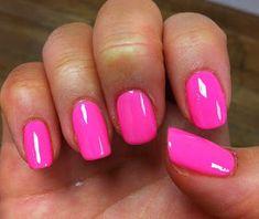 Pink Shellac Nails, Gelish Nail Colours, Pink Nail Colors, Cute Acrylic Nails, Toe Nails, Pink Summer Nails, Bright Pink Nails, Hot Pink Nails, Hot Pink Pedicure