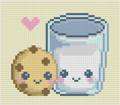 FREE Kawaii Milk and Cookie Hama Perler Bead Pattern or Cross Stitch Chart