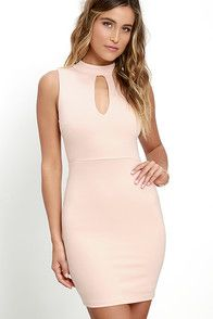 We know you can talk the talk, now prove that you can walk the walk by strutting your stuff in the Talk the Mock Blush Pink Bodycon Dress! Stretch knit shapes a darted, sleeveless bodice topped by a mock neck and sexy keyhole cutout. Bodycon skirt creates a figure-flaunting silhouette. Hidden back zipper.