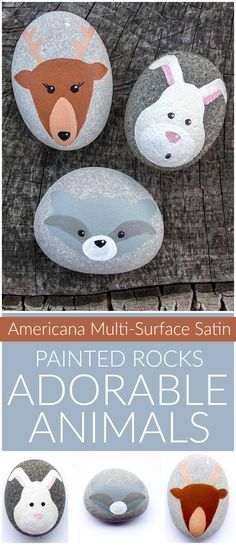 Create this project with Americana® Multi-Surface Acrylics — Paint these adorable animal rocks for your yard with Multi-Surface Satins!