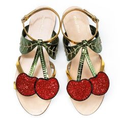 60512b8cb159 Miu Miu shoes always get us a little excited in the office. These cherry  sandals