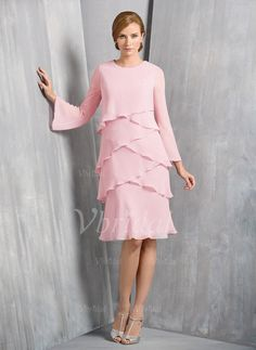 Mother of the Bride Dresses - $139.78 - A-Line/Princess Scoop Neck Knee-Length Chiffon Mother of the Bride Dress With Cascading Ruffles (0085098158)
