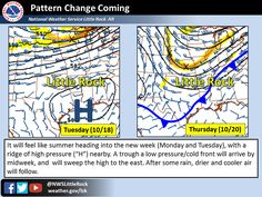 says For The Little Rock Metro & Central Arkansas Now Thru Next Sunday: Sunny Days & Clear Nights With Warmer Temperatures Thru Tuesday Night. Lo 68. Hi Mon 90 & Lo 69. Hi Tue 89 & Lo 67. Wednesday Thru Thursday: Cloudy & Cooler. Widely Scattered To Scattered Showers & T'Storms. Hi Wed 86 & Lo 64. Hi Thu 74. Thu Ngt Thru Sunday: Partly Cloudy & Cooler. Lo Thu Ngt 52. Hi Fri 70 & Lo 49. Saturday: Sunny. Hi 72 & Lo 51. Hi Sunday 75.- For Updates: http://www.weather4ar.org/ - DCP2