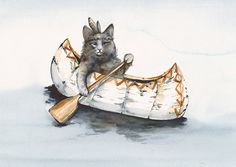 Cat Art   Little Brave Paddles a  Lot by amberalexander on Etsy, $20.00