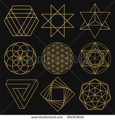 Set of figures with sacred symbols and elements. Mystical and esoteric forms: Flower of Life, Merkaba, Penrose triangle, pentagram, octagram. Geometric Designs, Geometric Shapes, Geometric Flower, Spiritual Logo, Penrose Triangle, Sacred Geometry Symbols, Sacred Geometry Triangle, Sacred Geometry Tattoo, Geometry Pattern