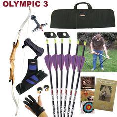 Recurve Archery Kit - Olympic 3.   Kit contents summary -  * 1 x full size recurve bow.  * 6 x SF Axiom arrows.  * 1 x Dacron string.  * 2 x arrow rests.  * 2 x brass nock sets.  * 1 x Basic bracer.  * 1 x leather glove.  * 1 x Bow Stringer.  * 1 x DVD.   * 1 x MAC 400 Quiver. (Colour may vary)  * 1 x Cartel Midi Extension Sight.  * 1 x MAC basic bow case. (Colour may vary). S$378