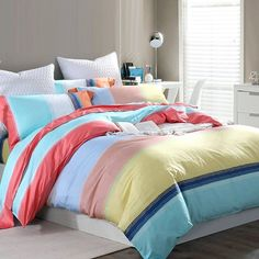 Pastel Aqua Blue Pink Yellow and Coral Red Rainbow Stripe Print Bright Colorful Girls Full, Queen Size Sets Yellow Bedding Sets, Aqua Bedding, Striped Bedding, Queen Bedding Sets, Luxury Bedding Sets, Rainbow Bedding, Colorful Bedding, Girls Bedroom Canopy, Girls Bedroom Sets