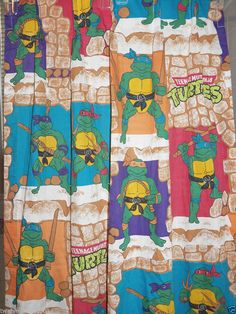1988 80's Teenage Mutant Ninja Turtles Cartoon Bedroom Man Cave Curtain Panel  #ninjaturtles #80scartoons