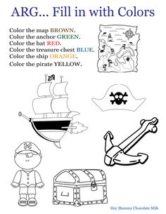 Color Word Practice Pirate Themed Worksheet