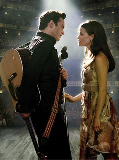 """Walk the Line"" 2005 biographical drama film directed by James Mangold and based on the early life and career of country music artist Johnny Cash. The film stars Joaquin Phoenix, Reese Witherspoon, Ginnifer Goodwin, and Robert Patrick. June Carter Cash, Johnny Cash, Johnny Y June, Walk The Line Movie, Love Movie, Movie Tv, Movie Scene, Movie Blog, Movie Lines"