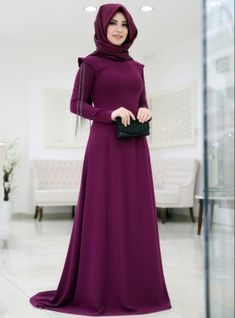 Chain Detailed Evening Dress - Plum - SomFashion