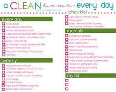 Daily, weekly, and monthly tasks for a clean home, everyday! I love SimplyKierste and I LOVE that her kids are involved in the routine!