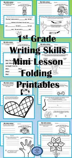 1st Grade Writing Mini-lesson Printables Topics: 1. writing idea list  2. stretch sounds  3. complete sentence 4. writing goals  5. end marks  6. create a hook 7.questions to get more  8. sight word spelling	 9. peer sharing 10. add details	 11. use synonyms	 12. use adverbs 13. edit with CUPS	 14. stop run-ons	 15. compound sentences 16. graphic organizers  17. edit symbols	 18. develop characters 19. stretch symbols  20. research notes	 plus