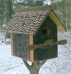 Handmade salvage wood birdhouse with unique salad tongs perch/embellishment… Bird House Feeder, Bird Feeders, Cool Bird Houses, Bird Cages, Creature Comforts, Salvaged Wood, Beautiful Birds, Rustic Birdhouses, Nests