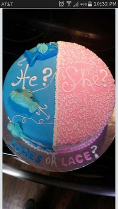 Lures or lace? Gender reveal cake!