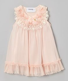 Fouger for Kids Peach Pleated Hem Swing Dress - Toddler & Girls | zulily