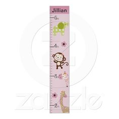 Personalized Jungle Jill/Girl Animals Growth Chart Poster from Zazzle.com