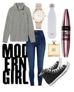 """""""Basic white girl"""" by band-orca on Polyvore featuring River Island, Victoria's Secret, ROSEFIELD, Converse, S'well and Maybelline"""