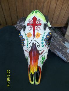 Day of the Dead Hand Painted Cow Head by POPSLEATHERSHOP on Etsy