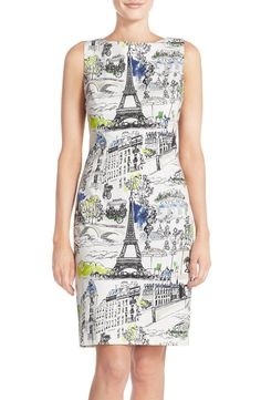 Looking très chic in this darling dress with lovely sketch drawings inspired by the City of Light.