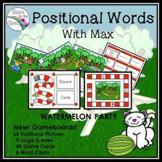 Max the magical cat is back! Max is ready for summer with 4 Watermelon Parties to share. Your students will enjoy learning about position words with Max in these 4 new scenes. Follow Max in, on, under and more! This edition includes gameboards for additional practice of prepositions!