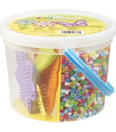 PERLER-Includes 4 pegboards, 5500 perler beads, ironing paper, easy-to-follow instructions, all in a clear bucket that stacks well and makes a great gift idea. Includes tweezers. For ages 5 and up. Wa