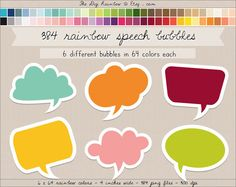 ON SALE! 384 speech bubbles digital clipart frames by TheDigiRainbow. #Scrapbooking #printable #clip art for #crafts, #journaling, #cardmaking, #party organization & home and wall decor or any #DIY projects.