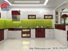 Tủ bếp Acrylic thiết kế kết hợp quầy bar năng động, hiện đại TB44