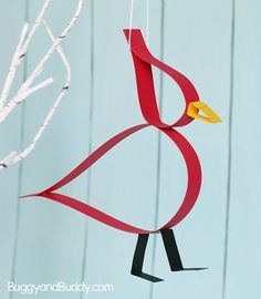 Easy Cardinal Craft for Kids Using Paper Strips- Perfect for winter or a unit on birds!