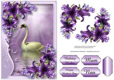 Serene Swan With Deep Purple Lilies on Craftsuprint designed by Anne Lever - This lovely topper features a swan within a soft frame, embellished with gorgeous deep purple lilies. It has a single layer of decoupage to add depth, four greetings to choose from and a blank greetings tile. The greetings are birthday wishes, happy mothers day, mum and nan. - Now available for download!