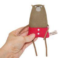 Tiny Bear Embroidered Art Doll, Miniature Bear, Tiny Teddy, Small Stuffed Bear…