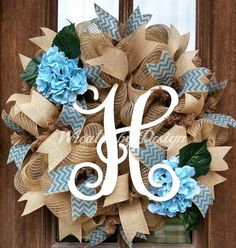 Vine Initial Spring Hydrangea Wreath by WreathsbyDesign1 on Etsy