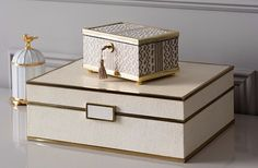 Beautiful possessions require beautiful homes. Shop our luxury trinket and jewellery boxes by clicking the link in our bio. L'Objet Small Gold Fortuny Tapa Decorative Box and Aerin Cream Shagreen Jewellery Box Luxury Decor, Luxury Gifts, Home Decor Accessories, Decorative Accessories, Decorative Objects, Decorative Boxes, Jewellery Boxes, Box Design, Design Ideas
