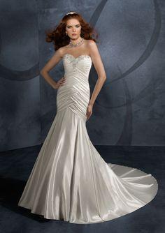Alternate Style Beaded Neckline Pleated Satin Mermaid Chapel Train Wedding Attires ,Mermaid Wedding Dresses,