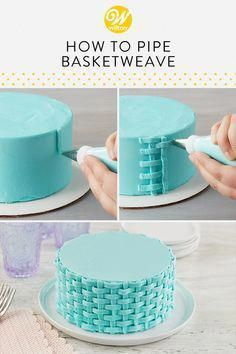 The buttercream basketweave technique turns simple cakes into beautiful treats! … The buttercream basketweave technique turns simple cakes into beautiful treats! This piping technique creates a two-dimensional classic woven look… Cake Decorating Piping, Cake Decorating Tutorials, Cookie Decorating, Decorating Cakes, Simple Cake Decorating, Decorating Ideas, Beginner Cake Decorating, Cupcake Decorating Techniques, Decorating Supplies