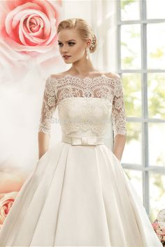 Shop affordable Ball Gown Floor-Length Off-The-Shoulder Half-Sleeve  Illusion Satin Dress With Lace at June Bridals! Over 8000 Chic wedding 0056c5da66a3