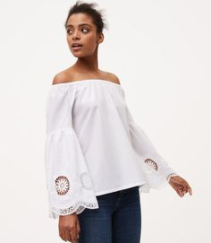 1870ee4769e78d Embroidered Bell Sleeve Off The Shoulder Blouse
