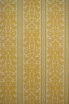 Authentic baroque stripes wallpaper with yellow damask pattern. This luxurious stripes wallpaper will have an opulent effect on your room. Vintage Wallpaper