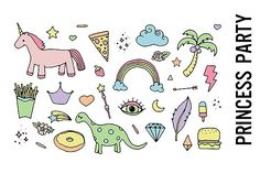 Princess Party Doodle Clipart by Pepper on @creativemarket