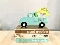 Stack Of Books, Mini Books, Summer Crafts, Beach Crafts, Summer Diy, Holiday Crafts, Wooden Truck, Wood Book, Patriotic Decorations