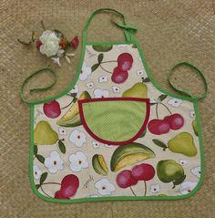 Tablier de cuisine fluité, avec poche à pois vert pistache pour enfant…
