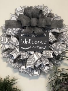 Welcome Wreath-Gray and White-Farmhouse Decor image 2 Wreath Crafts, Diy Wreath, Wreath Ideas, Deco Mesh Wreaths, Holiday Wreaths, Winter Wreaths, Burlap Wreaths, Spring Wreaths, Country Farmhouse Decor