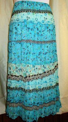 I.N. Studio Skirt Med Petite Maxi Pleated Crinkle Gypsy Peasant Boho Turquoise #INStudio #PeasantBoho