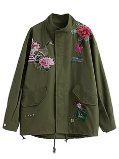 Army Green Embroidered Detail Studded Parka Jacket