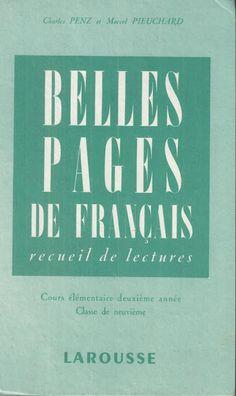 Manuels anciens: Penz, Pieuchard, Belles pages de français CE2 (1955)