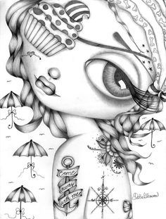 Lowbrow Art Company Come Away With Me - Canvas Giclee - This is a gallery wrapped canvas print that comes on a stretcher bar & is ready to hang. Colouring Pages, Adult Coloring Pages, Coloring Books, Free Coloring, String Wall Art, Nail String Art, Photo Canvas, Photo Wall Art, Modelos Pin Up