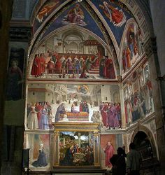 The Sassetti Chapel was frescoed between 1482 and 1485 by Domenico Ghirlandaio.  The restored chapel (in 2007 framed in full on scaffolding) is not only a gem, it is one of the only places of its type where significant components have not been disappeared