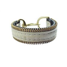 Zipper Cuff Cream Leather Bracelet