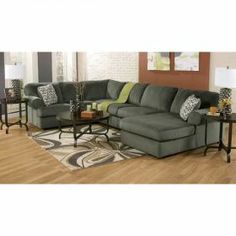 3PC Pewter Sectional w/ RAF Chaise at American Furniture Warehouse