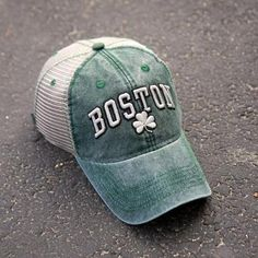 "Boston Shamrock ""Cobblestone"" Mesh Trucker Green Hat - Chowdaheadz"
